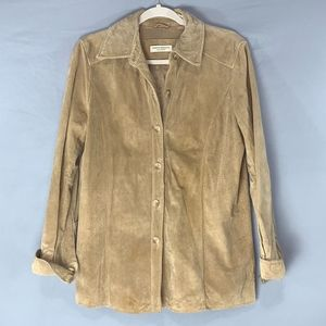Valerie Stevens Brushed Leather Button Up Jacket